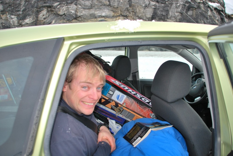Cris packed in the car (Norway)