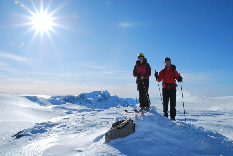 Em and Chris on glacier 2 (Ski touring Glomfjord, Norway)