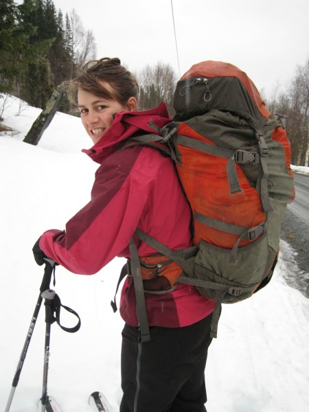 Emily about to ski (Norway)