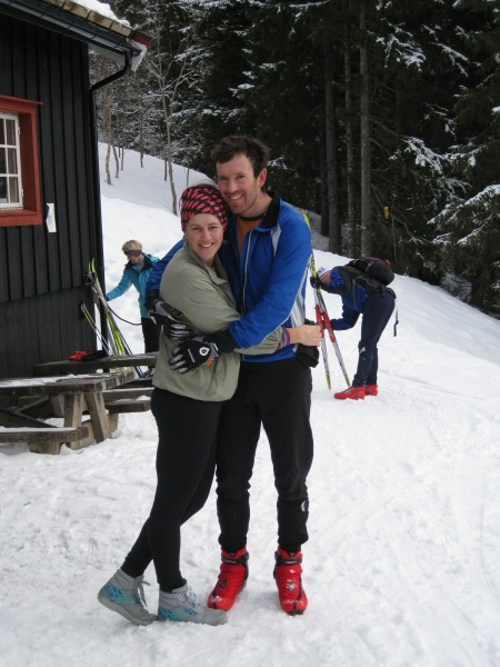Emily and Chris hugging (Trondheim, Norway)