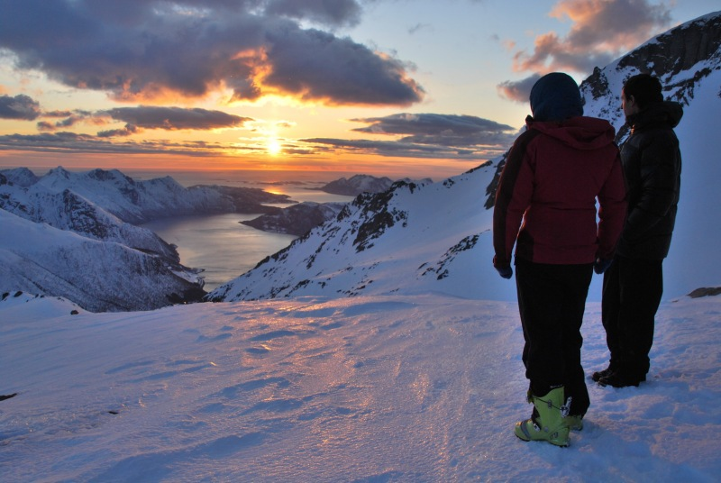 Emily and Chris looking towards the fiords (Ski touring Glomfjord, Norway)