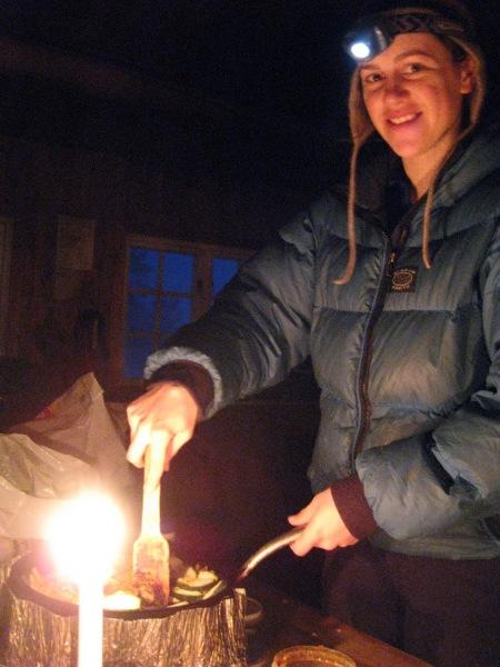 Emily preparing dinner (Norway)