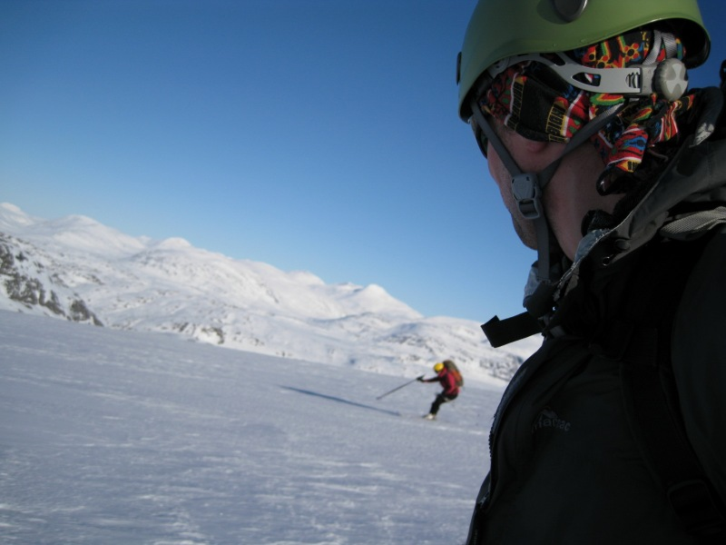 Emily skiing  behind Cris (Ski touring Glomfjord, Norway)