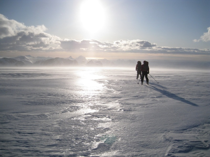 Skiing across the glacier (Ski touring Glomfjord, Norway)