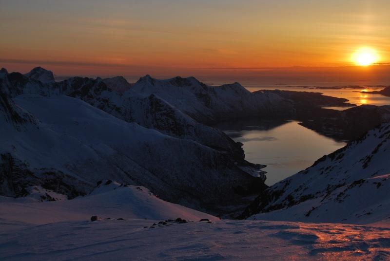 View down into fiords (Ski touring Glomfjord, Norway)