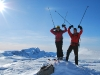 Em and Chris with poles (Ski touring Glomfjord, Norway)