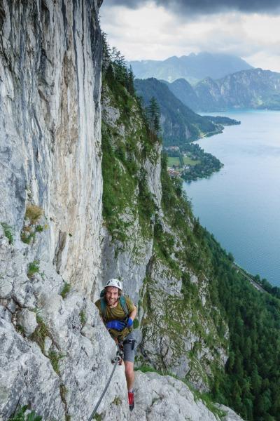 Brendan on the Attersee Klettersteig 2 (Salzkammergut Adventures)