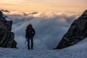 Chris and clouds (Tramping Ice Lake Dec 2015)