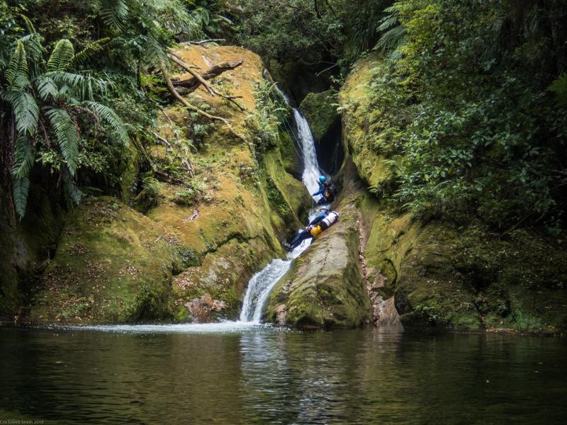 Craig and Gina hanging out (Canyoning Waterfall Creek)