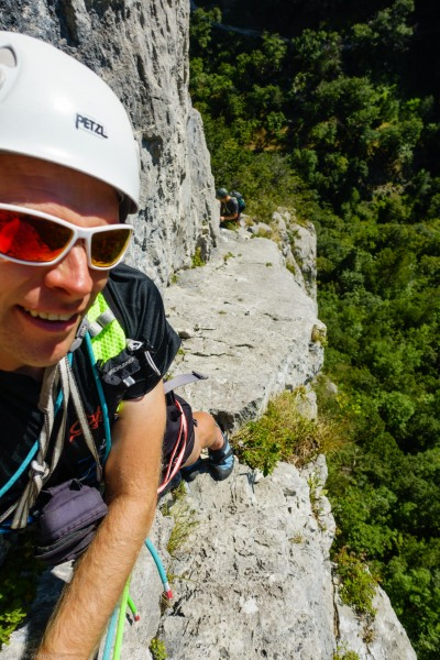 Cris on route (Climbing in Arco)