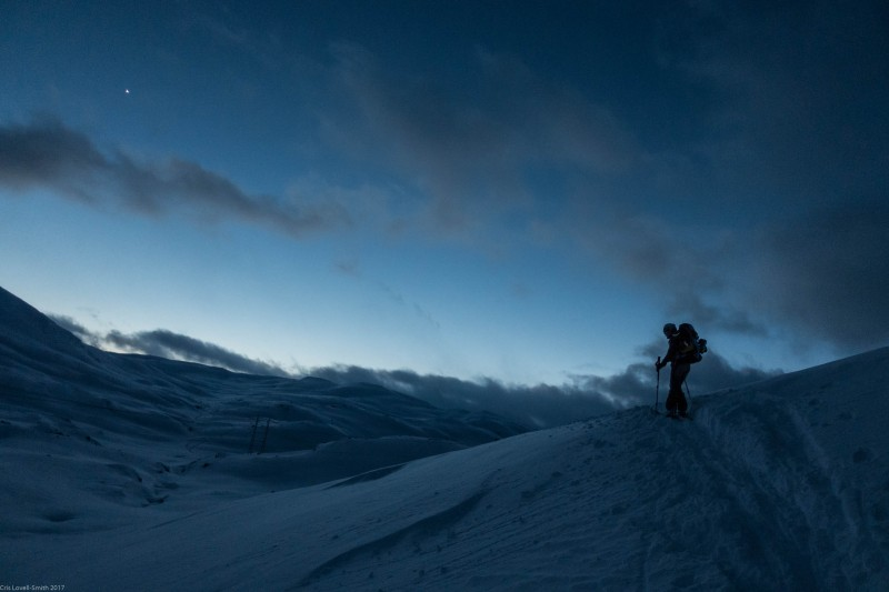 Leonie skiing in the evening (Ski touring Finse 2017)