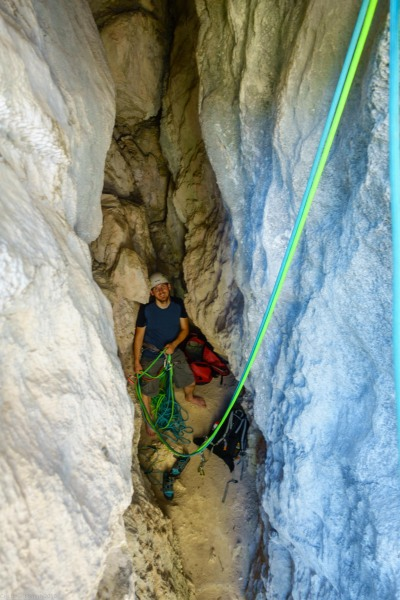 Johannes belaying (Climbing in Arco)