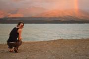 Leonie beside lake (Lake Pukaki)