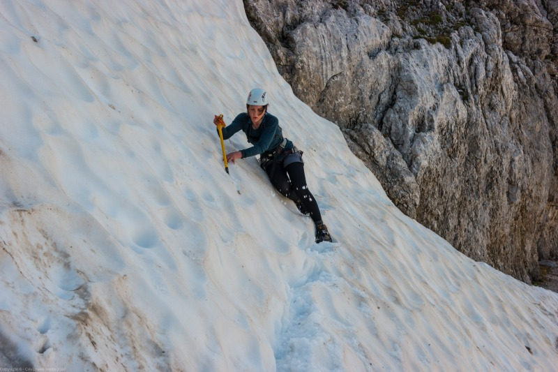 Leonie crossing snow (Summer Holidays 2016)