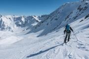 Leonie descending (Arlberger Winterklettersteig March 2017)