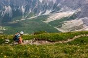 Leonie descending from Bovski Gamsovec (Summer Holidays 2016)