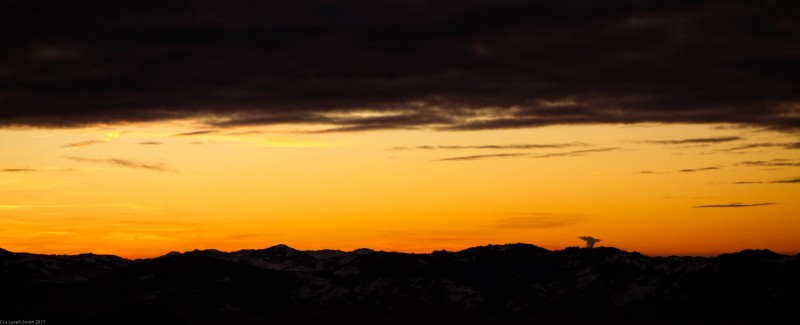 Nice sunset over the hills near Säntis (Ski touring Hochälpelehütte Dec 2013)