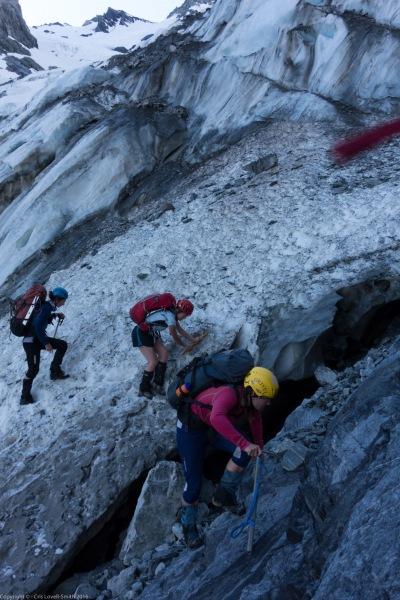 Reaching the glacier (Tramping Ice Lake Dec 2015)