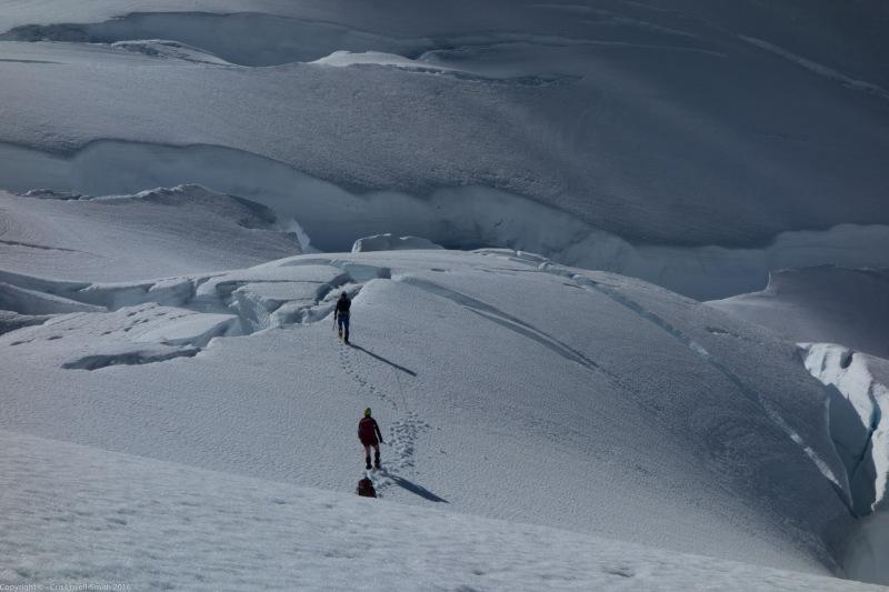 Walking amongst the holes (Tramping Ice Lake Dec 2015)
