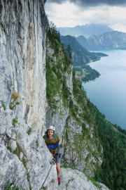 Brendan on the Attersee Klettersteig 2 (Salzkammergut Adventures)