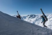 Heading off from the lift (Arlberger Winterklettersteig March 2017)