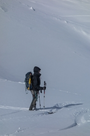 Leonie and gear (Ski touring Jamtalhuette)