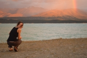 Leonie beside lake (Lake Pukaki)