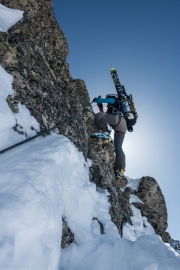 Leonie climbing (Arlberger Winterklettersteig March 2017)