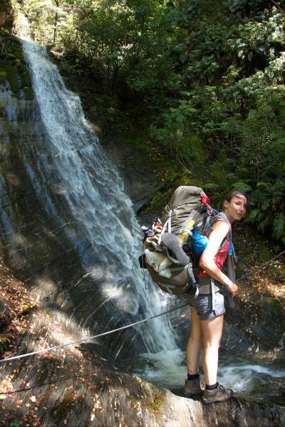 Crossing a waterfall 2 (Rabbit Pass Tramp Dec 2014)