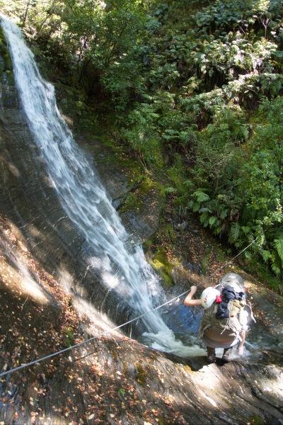 Crossing a waterfall (Rabbit Pass Tramp Dec 2014)