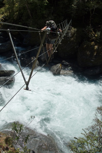 Crossing a wire bridge 2 (Rabbit Pass Tramp Dec 2014)