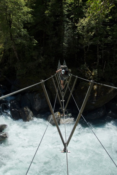 Crossing a wire bridge 3 (Rabbit Pass Tramp Dec 2014)