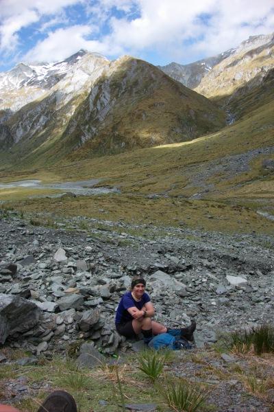 Gina after descending (Rabbit Pass Tramp Dec 2014)