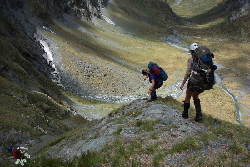 Gina and Leonie descending Rabbit Pass 2 (Rabbit Pass Tramp Dec 2014)