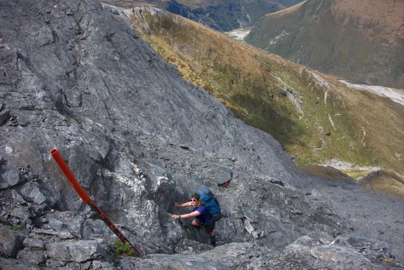Gina climbing rock (Rabbit Pass Tramp Dec 2014)