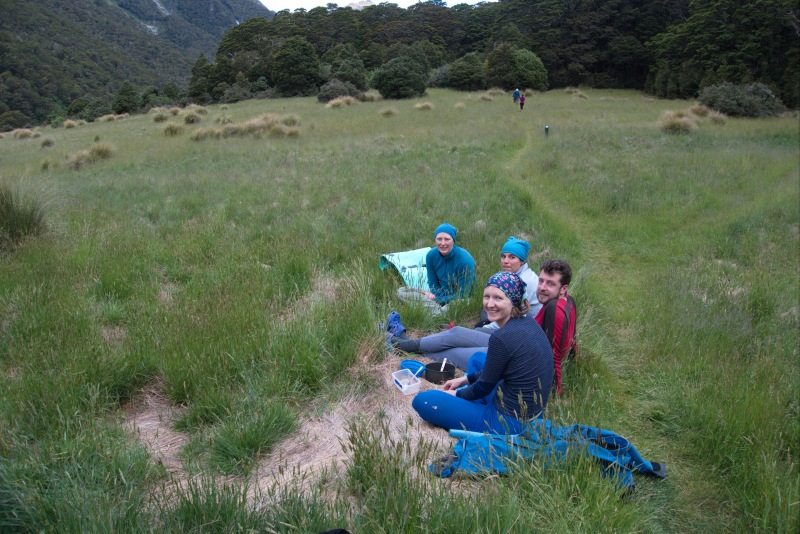 Hanging out outside the hut (Rabbit Pass Tramp Dec 2014)