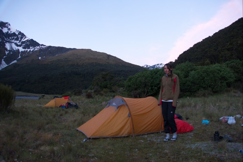 Leonie and tent (Rabbit Pass Tramp Dec 2014)