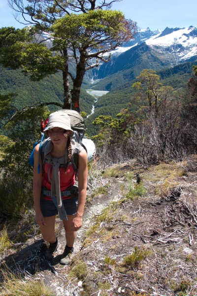 Leonie climbing out of the valley (Rabbit Pass Tramp Dec 2014)