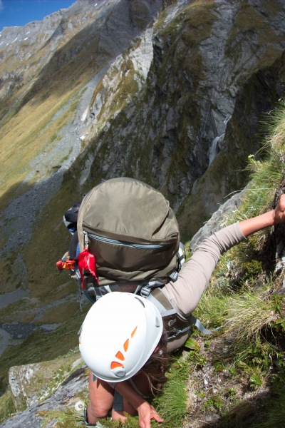 Leonie descending on a steep bit (Rabbit Pass Tramp Dec 2014)