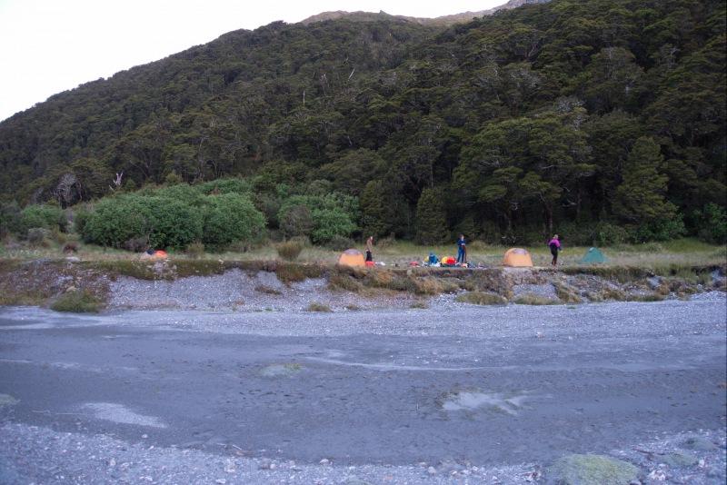 Pitching tents (Rabbit Pass Tramp Dec 2014)