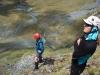 Anna-Marie and Hazel survey the crux (Rabbit Pass Tramp Dec 2014)