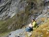 Gina on rocks (Rabbit Pass Tramp Dec 2014)
