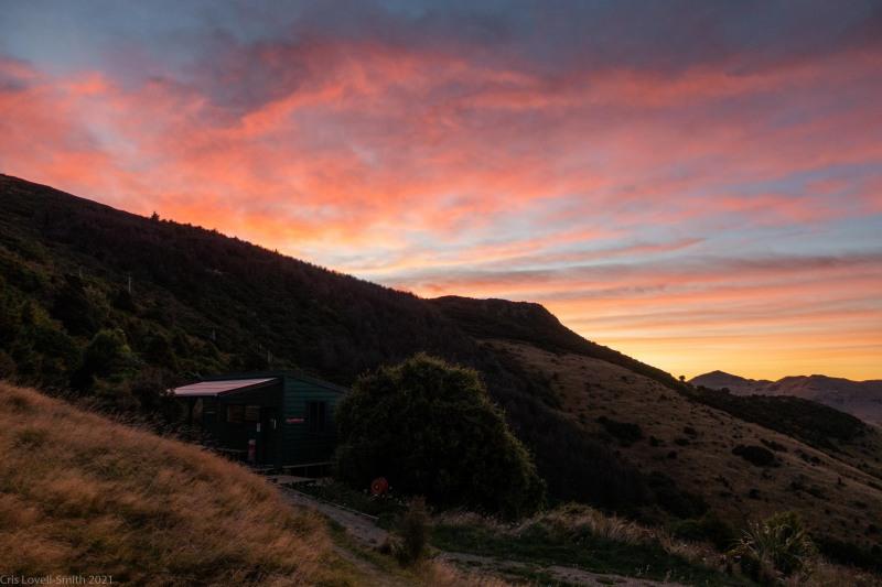 Hut at sunrise (Rod Donald Hut March 2021)