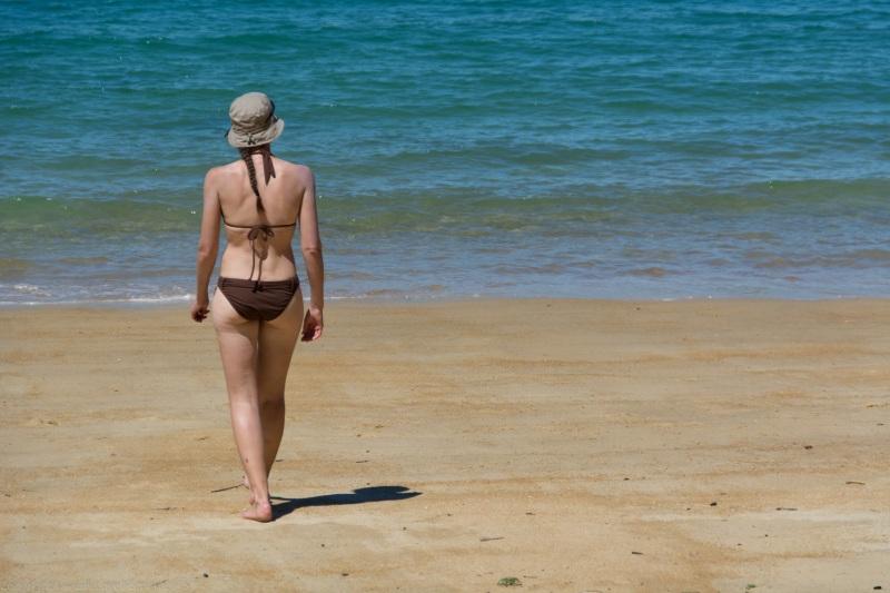 Leonie on the beach (Seakayaking Abel Tasman Dec 2014)