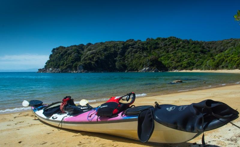 The kayak at Te Puketia (Seakayaking Abel Tasman Dec 2014)