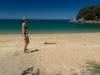 Leonie on beach (Seakayaking Abel Tasman Dec 2014)