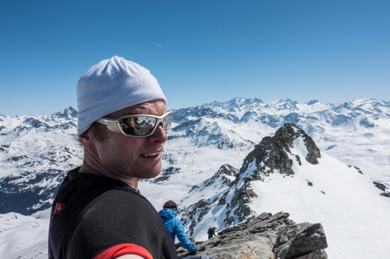 At the summit (Ski touring Avers March 2019)