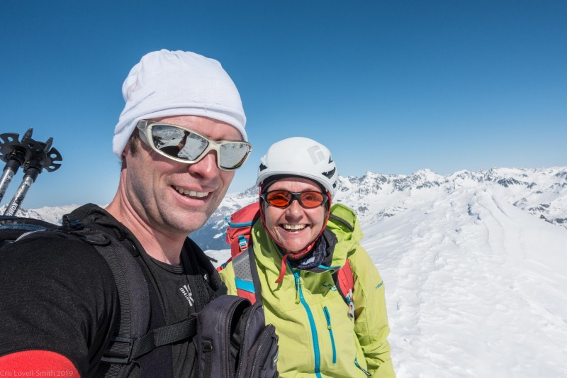 Cris and Helga on the summit (Ski touring Avers March 2019)
