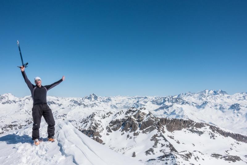 Cris on the summit of Mazzaspitz (Ski touring Avers March 2019)