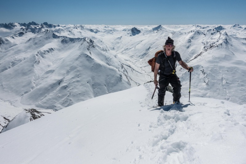 Elmar nearing the summit (Ski touring Avers March 2019)